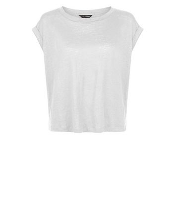 White Linen T-Shirt New Look
