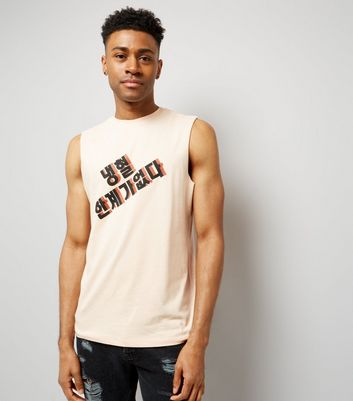 Coral Text Print Tank Top New Look