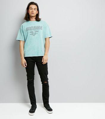 Green Acid Wash Arizona Printed T-Shirt New Look