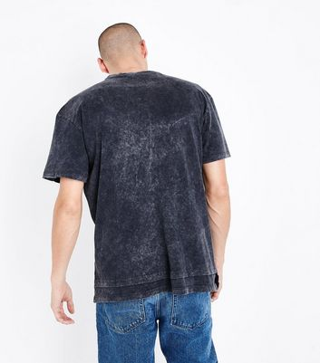 Grey Double Layered Acid Wash T-Shirt New Look