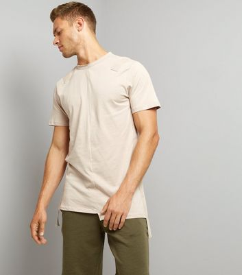 Stone Tape Front Spliced T-Shirt New Look