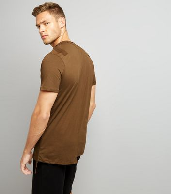 Khaki Tape Front Spliced T-Shirt New Look