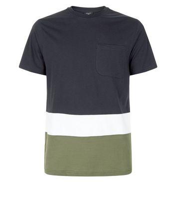 Navy Colour Block T-Shirt New Look