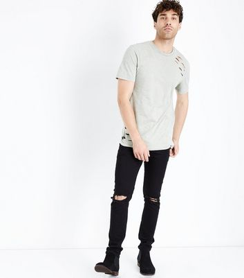 Khaki Acid Wash Ripped T-Shirt New Look
