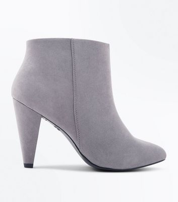 Wide Fit Grey Suedette Cone Heel Shoe Boots New Look