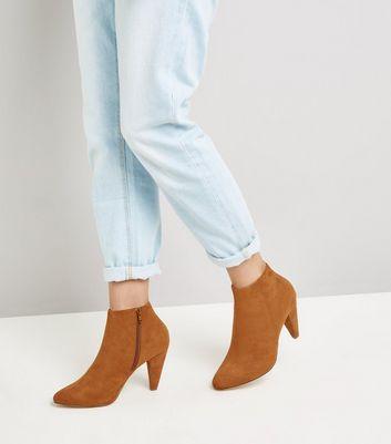 Wide Fit Tan Suedette Cone Heel Shoe Boots New Look