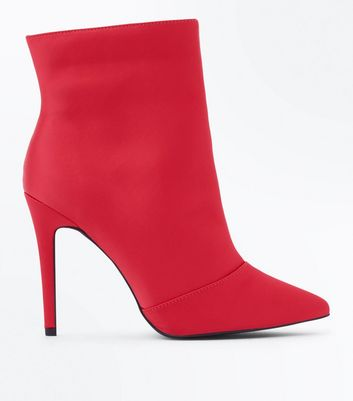 Wide Fit Red Satin Pointed Stiletto Ankle Boots New Look