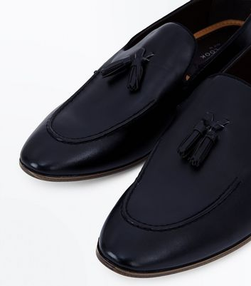 Black Leather Look Tassel Loafers New Look