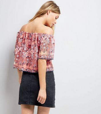 Pink Floral Embroidered Mesh Bardot Neck Top New Look