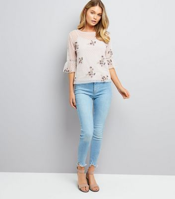 Cream Floral Embroidered Spot Mesh Bell Sleeve Top New Look