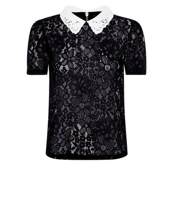 Black Lace Collared Shirt New Look