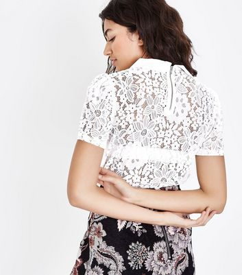 White Lace Peter Pan Collar Top New Look