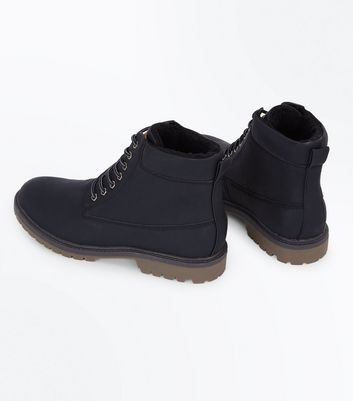 Black Faux Shearling Lined Worker Boots New Look