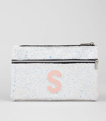 Silver Glitter Initial S Pencil Case New Look