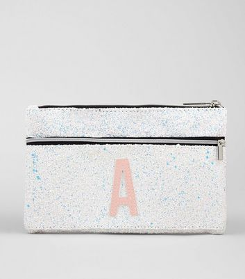 Silver Glitter Initial A Pencil Case New Look