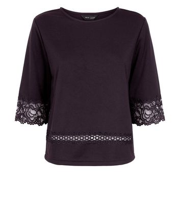 Black Lace Trim Top New Look