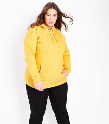 Curves Yellow Oversized Hoodie New Look