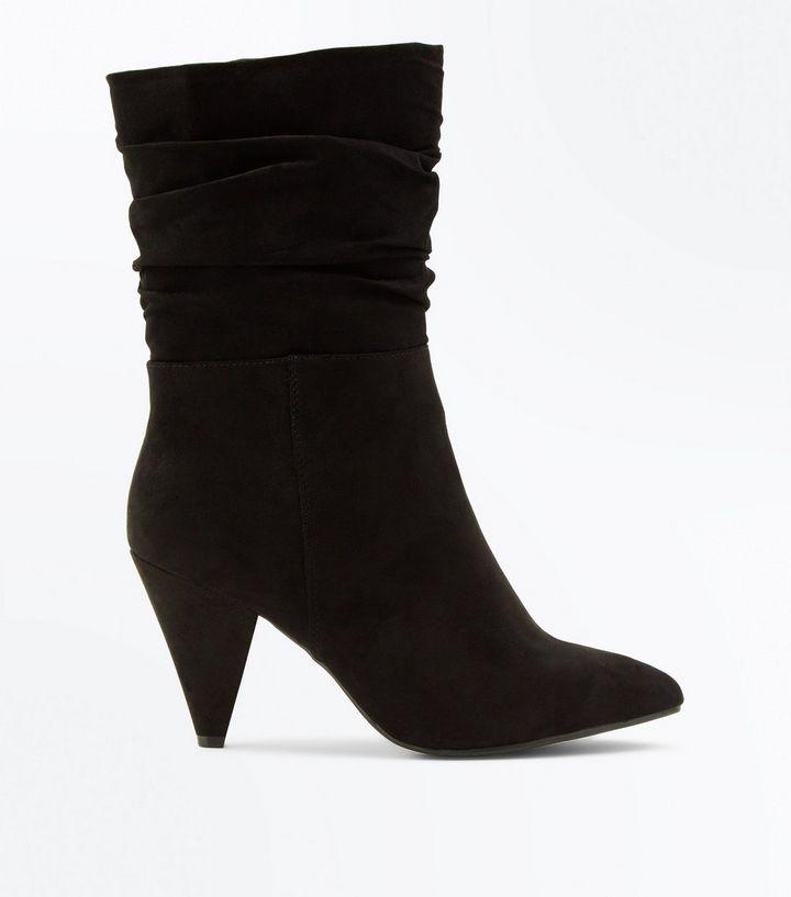 e447777d113 Wide Fit Black Suedette Cone Heel Calf Boots