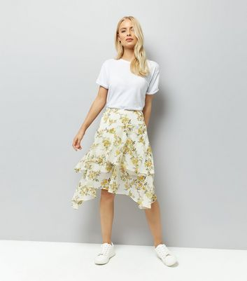 White Floral Print Asymmetric Hem Midi Skirt New Look
