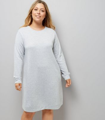 Curves Grey Longline Sweater Dress New Look