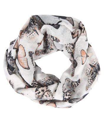 Grey Butterfly Print Snood New Look