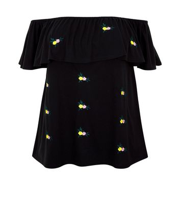 Curves Black Floral Embroidered Bardot Neck Top New Look