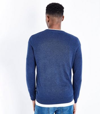 Blue Cotton V Neck Jumper New Look