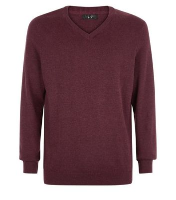 Burgundy Cotton V Neck Jumper New Look