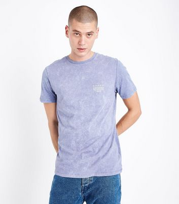 Lilac Acid Wash Detroit Back Print T-Shirt New Look