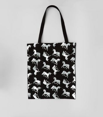 Black Metallic Unicorn Canvas Bag New Look