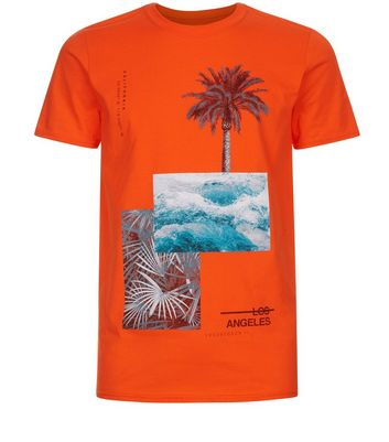 Orange Palm Tree Print T-Shirt New Look