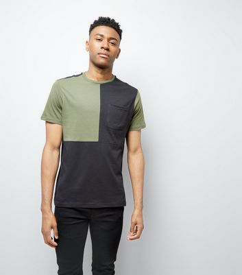 Khaki Colour Block T-Shirt New Look