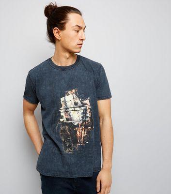 Dark Grey Acid Wash Brush Stroke Print T-Shirt New Look