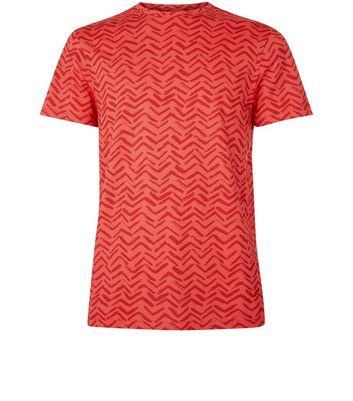 Red Chevron Print T-Shirt New Look