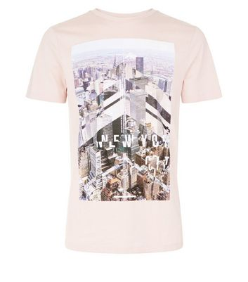 Shell Pink New York Print T-Shirt New Look