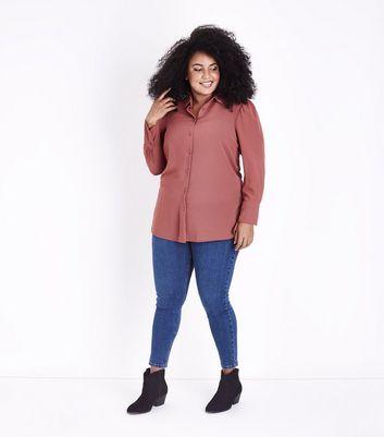 Curves Plum Chiffon Longline Shirt New Look