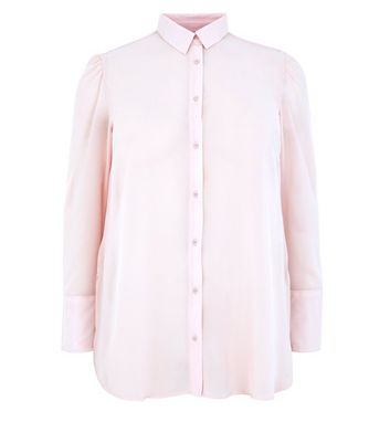 Curves Shell Pink Chiffon Longline Shirt New Look