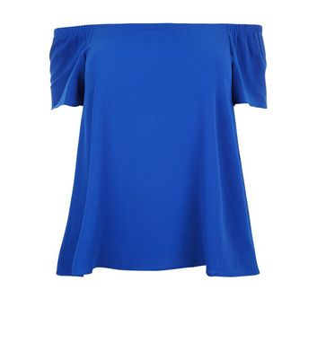 Curves Blue Crepe Bardot Neck Top New Look