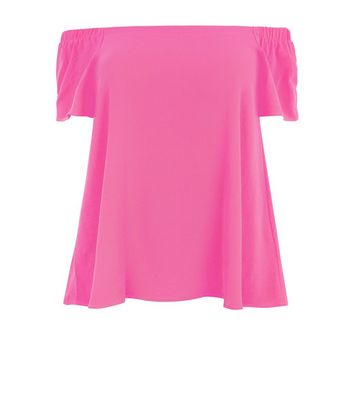 Curves Pink Crepe Bardot Neck Top New Look