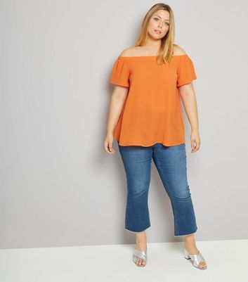 Curves Orange Crepe Bardot Neck Top New Look