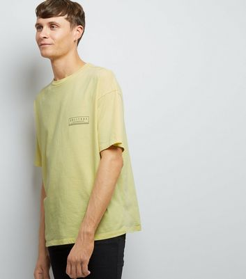 Yellow Acid Wash Solitude Print T-Shirt New Look