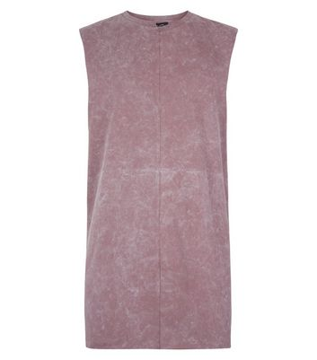 Pink Acid Washed Spliced Neck Tank Top New Look