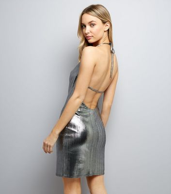 Silver Metallic Cowl Neck Dress New Look