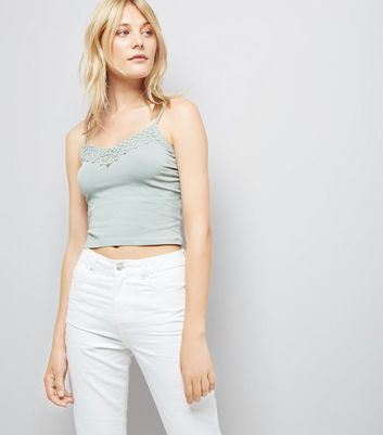 Mint Green Lace Trim Crop Top New Look