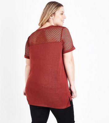 Curves Rust Fishnet Yoke T-Shirt New Look