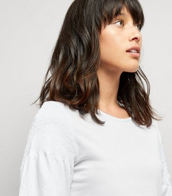 White Shirred Shoulder T-Shirt New Look