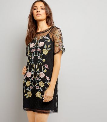 Black Spot Mesh Floral Embroiderd Tunic Dress New Look