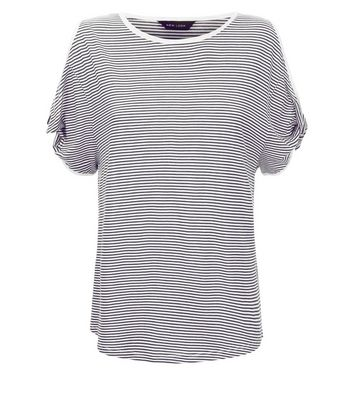 Black Stripe Twist Sleeve Cold Shoulder T-Shirt New Look