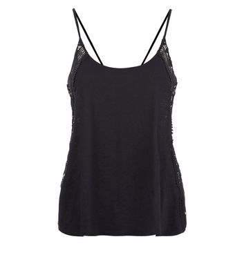 Black Lace Side Panel Cami New Look