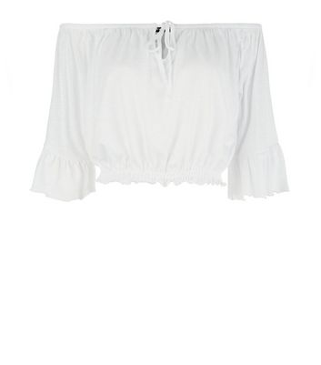 White Tie Up Bardot Neck Crop Top New Look